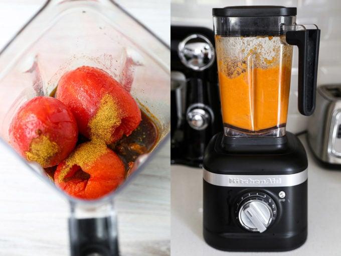 Blending tomatoes in blender