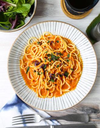 chilled japanese tomato pasta
