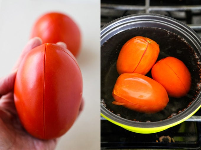 slicing and boiling tomatoes