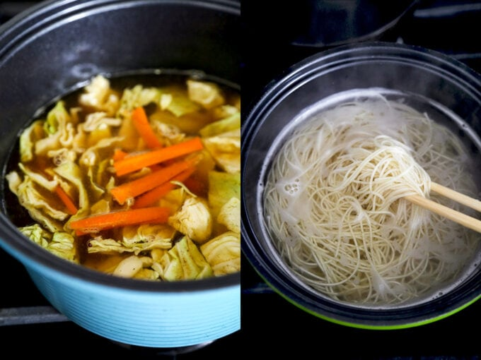 egg noodles and champon soup