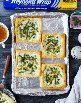 Asparagus ricotta tart