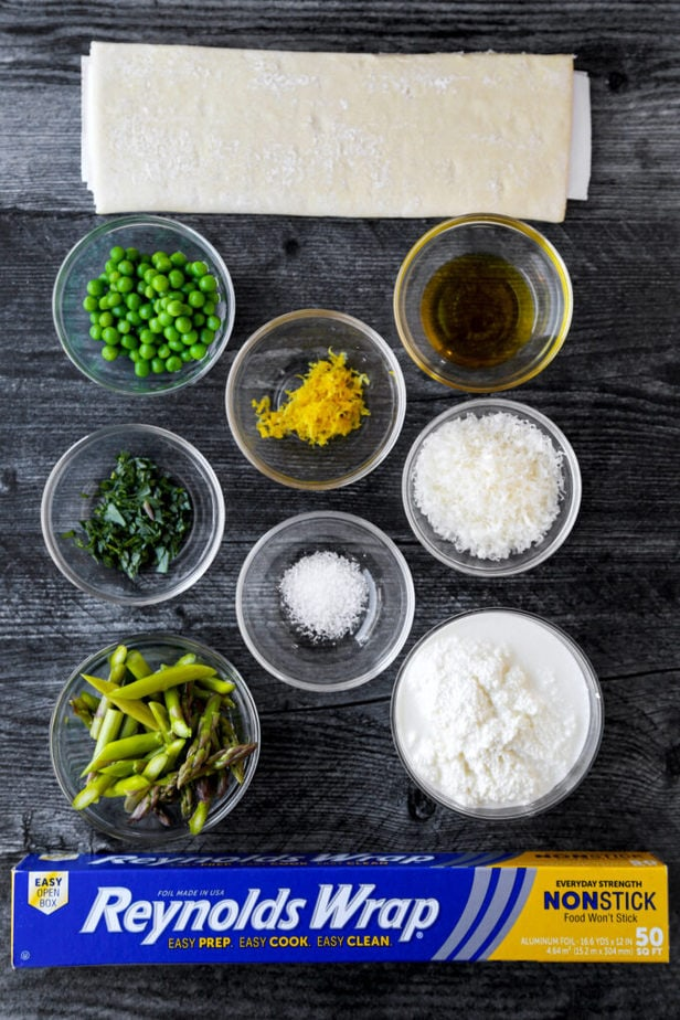 Ingredients for puff pastry tart